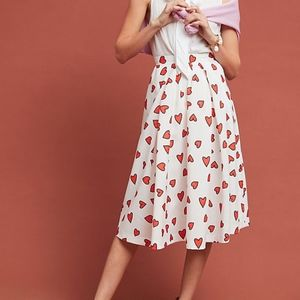 Anthropologie Mignon Doo Hearts All Over Skirt